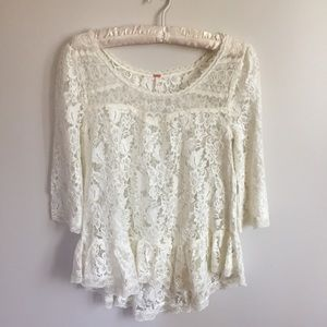 Free People Lace Overlay Swing Top Shirt NWT